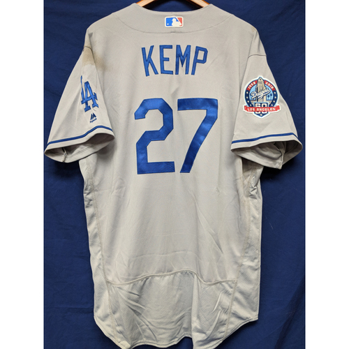 Photo of Kershaw's Challenge: Matt Kemp Game-Used Road Jersey - 5/17/18