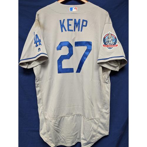 Photo of Kershaw's Challenge: Matt Kemp Game-Used Road Jersey - 5/17/18
