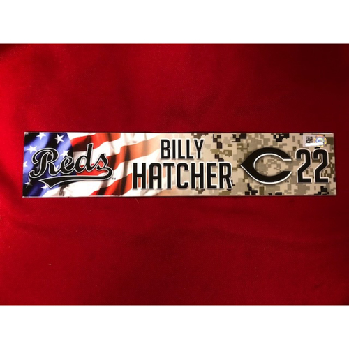 Photo of Billy Hatcher - Game-Used - Military Appreciation Locker Tag (2018)