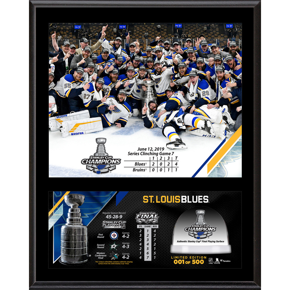 St. Louis Blues 2019 Stanley Cup Champions 12'' x 15'' Sublimated Plaque with Game-Used Ice from the 2019 Stanley Cup Final - #1 of a Limited Edition of 500