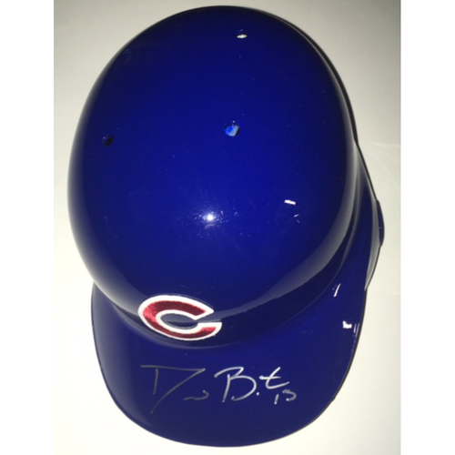 Photo of David Bote Autographed Cubs Helmet