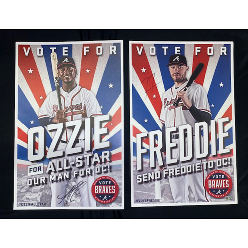 Photo of Freddie Freeman & Ozzie Albies Autographed 2018 MLB All-Star Game Campaign Poster (Albies Autograph is NOT MLB Authenticated)