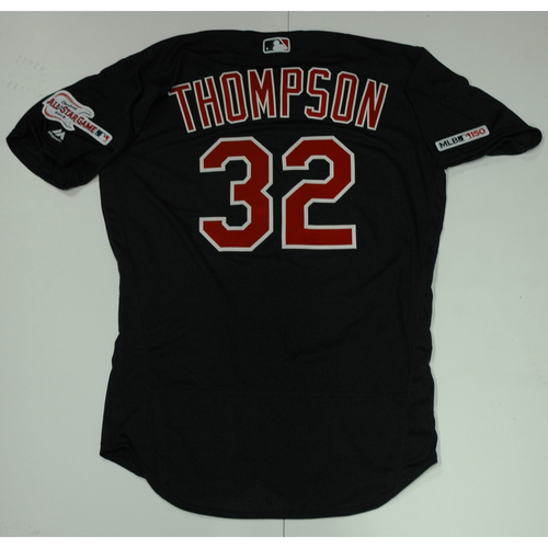 Photo of Trayce Thompson Team Issued 2019 Navy Road Alternate Jersey