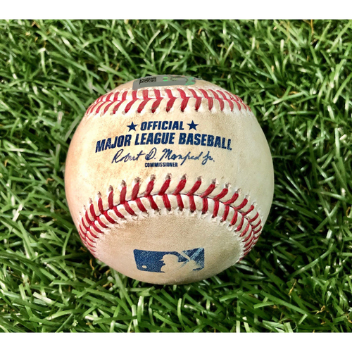 Photo of Game Used Baseball: Tyler Glasnow strikes out Mike Tauchman and ball in dirt to Giovanny Urshela - First Seven Inning DH at Tropicana Field - Game 1 - August 8, 2020 v NYY
