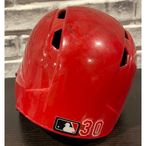 Photo of No. 30 -- Team-Issued Helmet -- Left Ear Flap -- Size 7 3/8