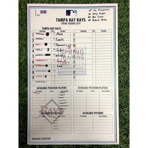 Replica Lineup Card - 2019 Spring Training (See Description for Players)