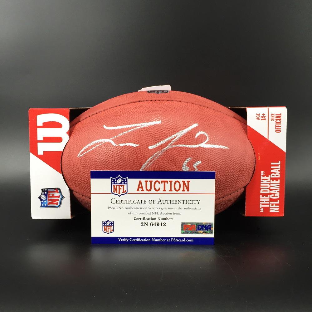 NFL - Eagles Lane Johnson Signed Authentic Football W/ 100 Seasons Logo