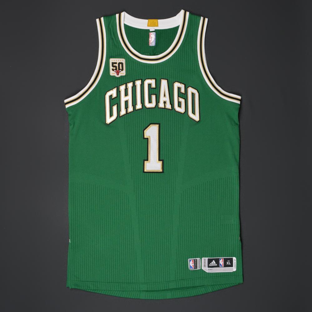 more photos 99282 36c29 Derrick Rose - Chicago Bulls - Game-Worn 'St. Patrick's Day ...