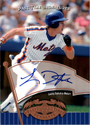 Photo of 2005 UD Past Time Pennants Signatures Bronze #LD Lenny Dykstra T3