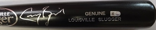Photo of Greg Bird Autographed Black Louisville Slugger Bat