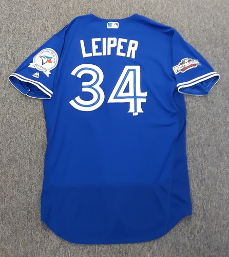 Photo of Authenticated Game Used Postseason Jersey - #34 Tim Leiper (October 4 and 9, 2016: Wild Card Game and ALDS Game 3). Size 46.