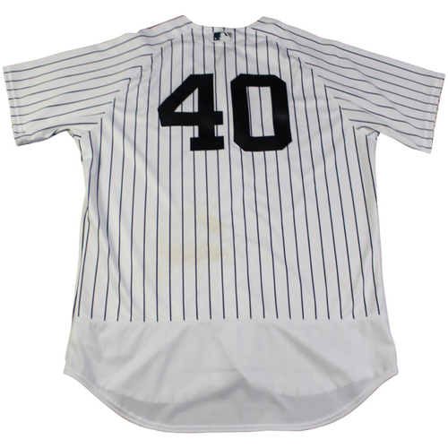 Photo of Luis Severino New York Yankees Game-Used #40 Pinstripe Jersey (8/28/2017). Jersey Size - 48