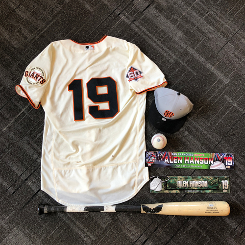 Photo of San Francisco Giants - Alen Hanson Game-Used Memorabilia Ultimate <i>From The Clubhouse</i> Collector's Pack (includes HOMERUN jersey)