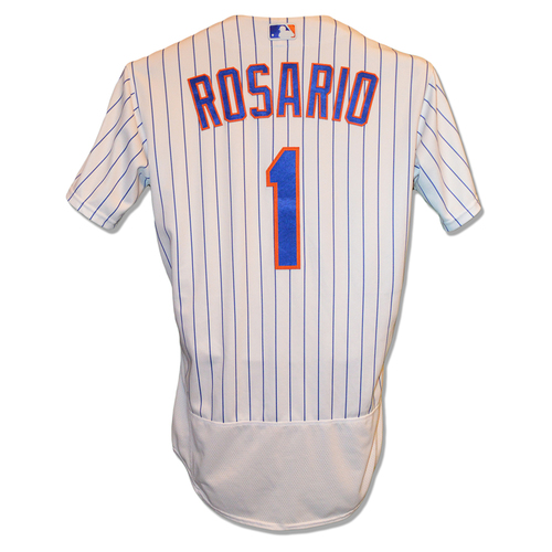 82f92c8a8 Amed Rosario  1 - Game Used White Pinstripe Jersey - Rosario Scores 2 Runs -