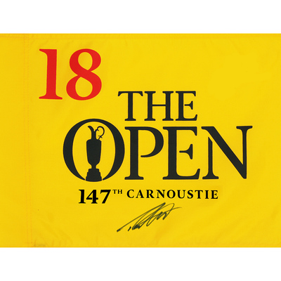 Photo of Tommy Fleetwood, The 147th Open Carnoustie Autographed Souvenir Pin Flag
