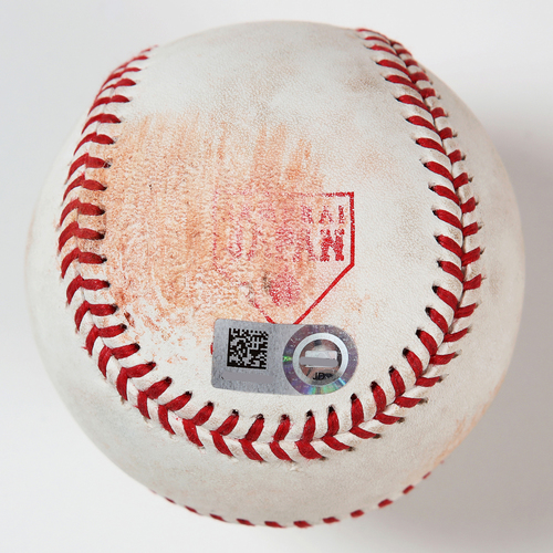 Photo of 2018 Japan Series Game-Used Baseball - Batter: Amed Rosario, Pitcher: Akitake Okada - Single, Top 6th