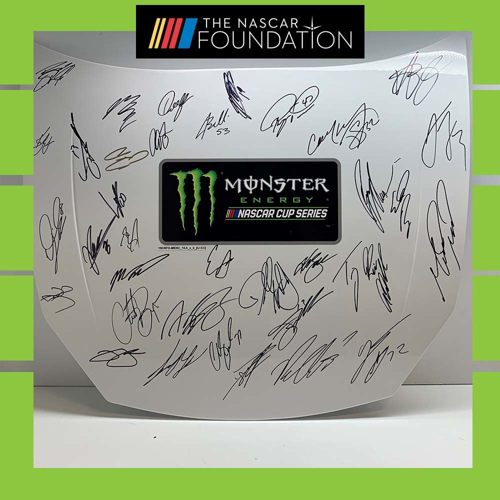 MENCS Autographed replica hood at Charlotte Roval!
