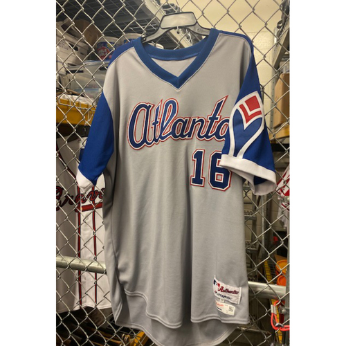 Photo of Brian McCann Team-Issued 1974 Atlanta Braves Throwback Grey Jersey (Jersey is NOT MLB Authenticated) - Size 50