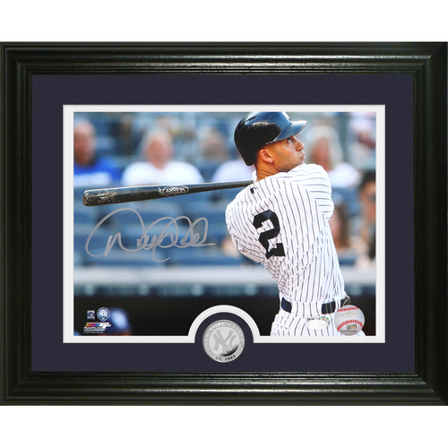 "Photo of Derek Jeter Autographed ""Intensity"" Silver Coin Photo Mint"
