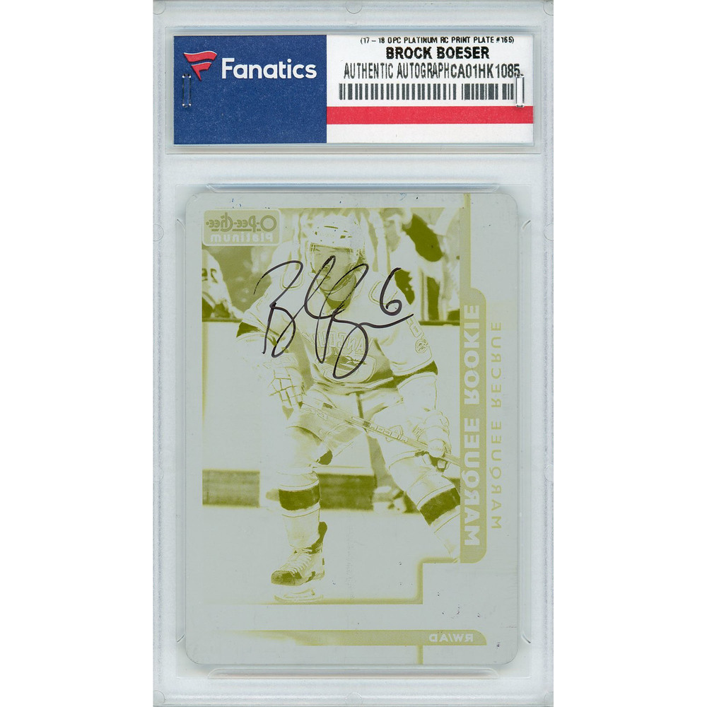 Brock Boeser Vancouver Canucks Autographed 2017-18 Upper Deck O-Pee-Chee Platinum #165 Rookie Printing Plate Card - LE of 1