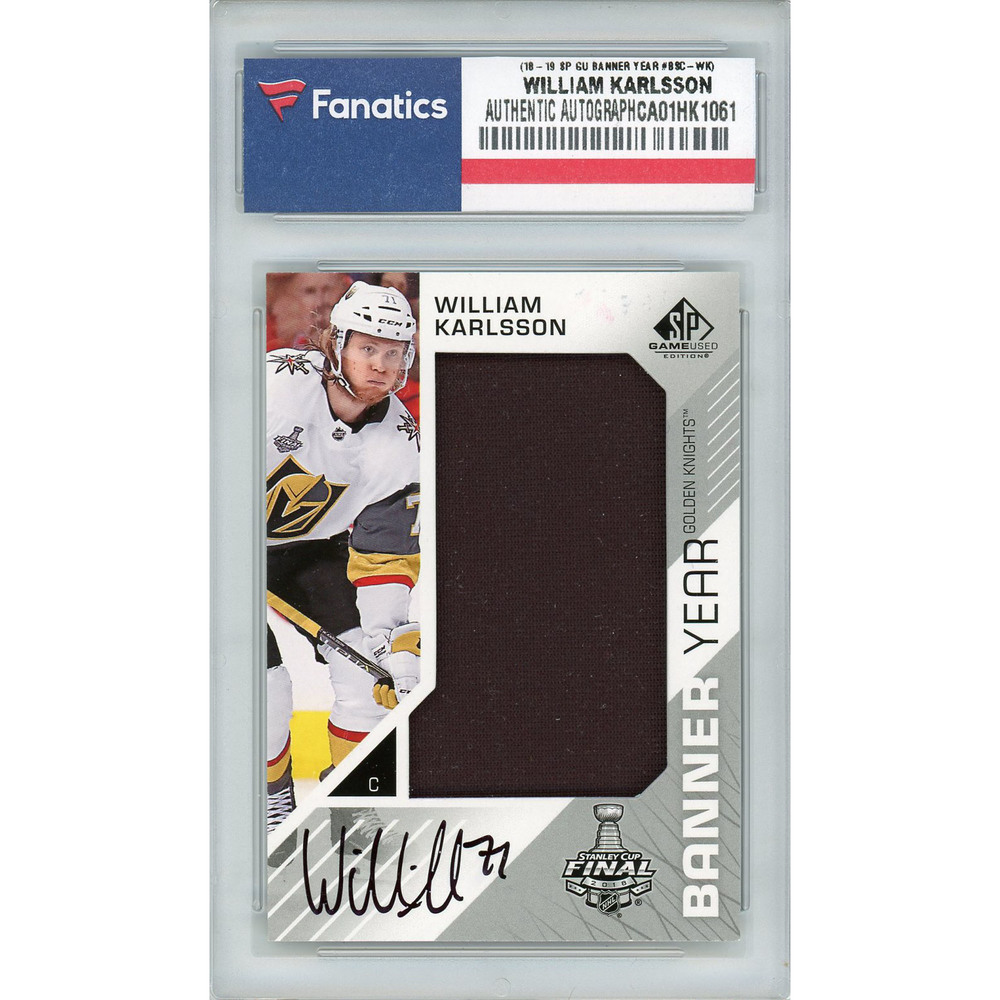William Karlsson Vegas Golden Knights Autographed 2018-19 Upper Deck SP Game Used Stanley Cup Final Banner Year #BSC-WK Card