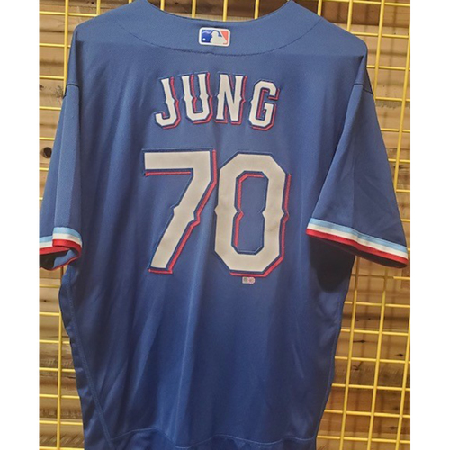 Photo of Josh Jung Game-Used Spring Training Jersey - 3/11/21