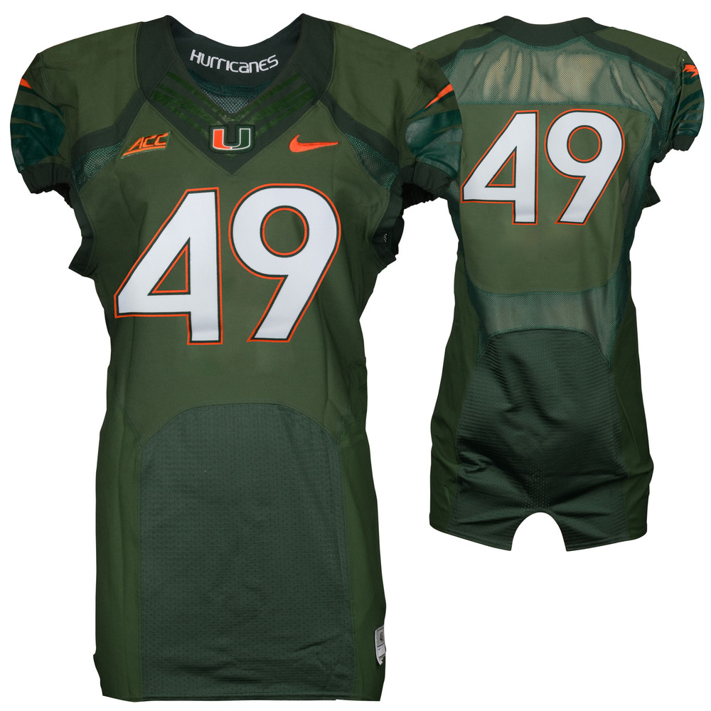 Miami Hurricanes Game-Used 2014 Nike Green Football Jersey #49 - Size 38