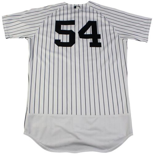 Photo of Aroldis Chapman New York Yankees Game-Used #54 Pinstripe Jersey (9/2/2017). Jersey Size - 46