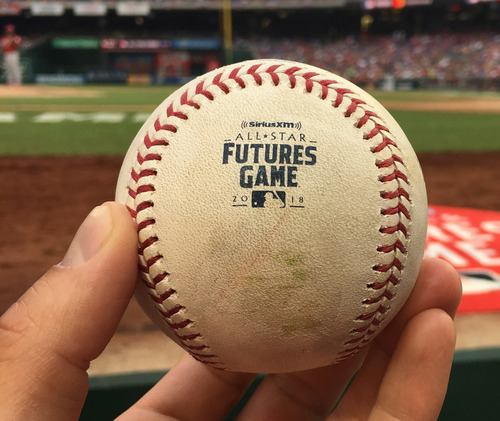 Photo of 2018 MLB Futures Game - Game-Used Baseball: Pitcher: Adonis Medina, Batter: Jo Adell - Double, Bottom 7th.