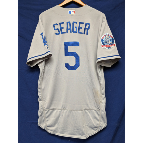 Photo of Kershaw's Challenge: Corey Seager Game-Used Road Home Run Jersey - 4/28/18