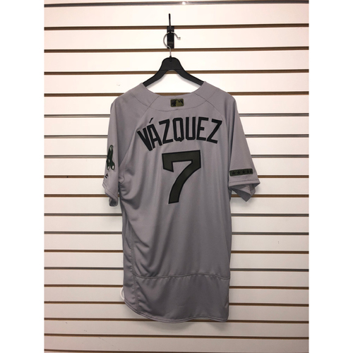 Photo of Christian Vazquez Team-Issued 2017 Memorial Day Road Jersey