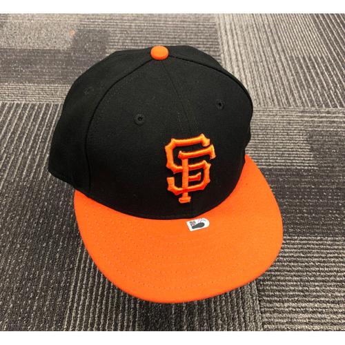 Photo of 2018 Game-Used Orange Bill Cap worn by #12 Joe Panik on 9/28 vs. Los Angeles Dodgers - Size 7 1/4
