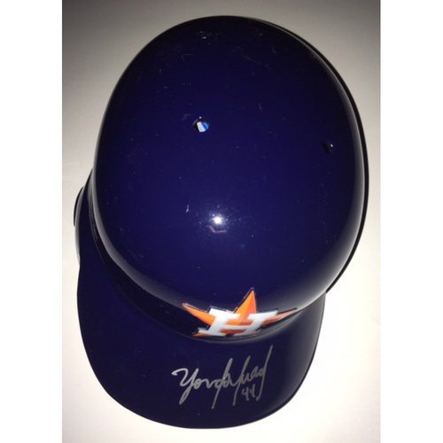 Photo of Yordan Alvarez Autographed Astros Helmet