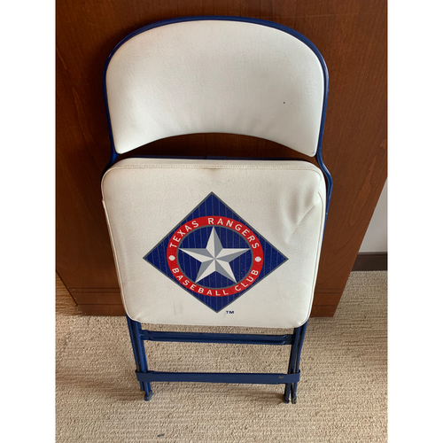 Photo of Folding Chair From Texas Rangers Home Clubhouse at Globe Life Park - Vintage Logo
