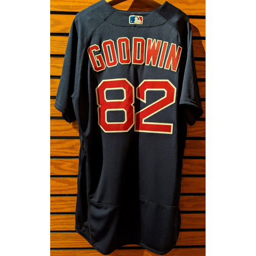 Photo of Coach Tom Goodwin #82 Team Issue Navy Road Alternate Jersey