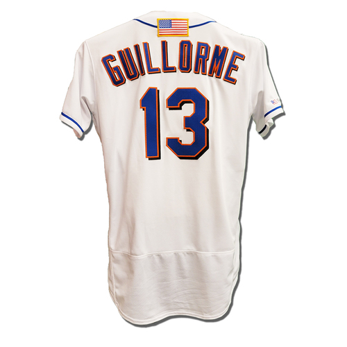 Photo of Luis Guillorme #13 - Game Used White Commemorative Jersey with American Flag Patch - Mets vs. Yankees - 9/11/2021