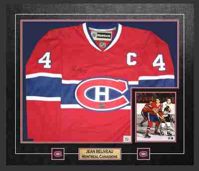 online retailer 476b0 7c735 Jean Beliveau Signed Framed Montreal Canadiens Replica ...