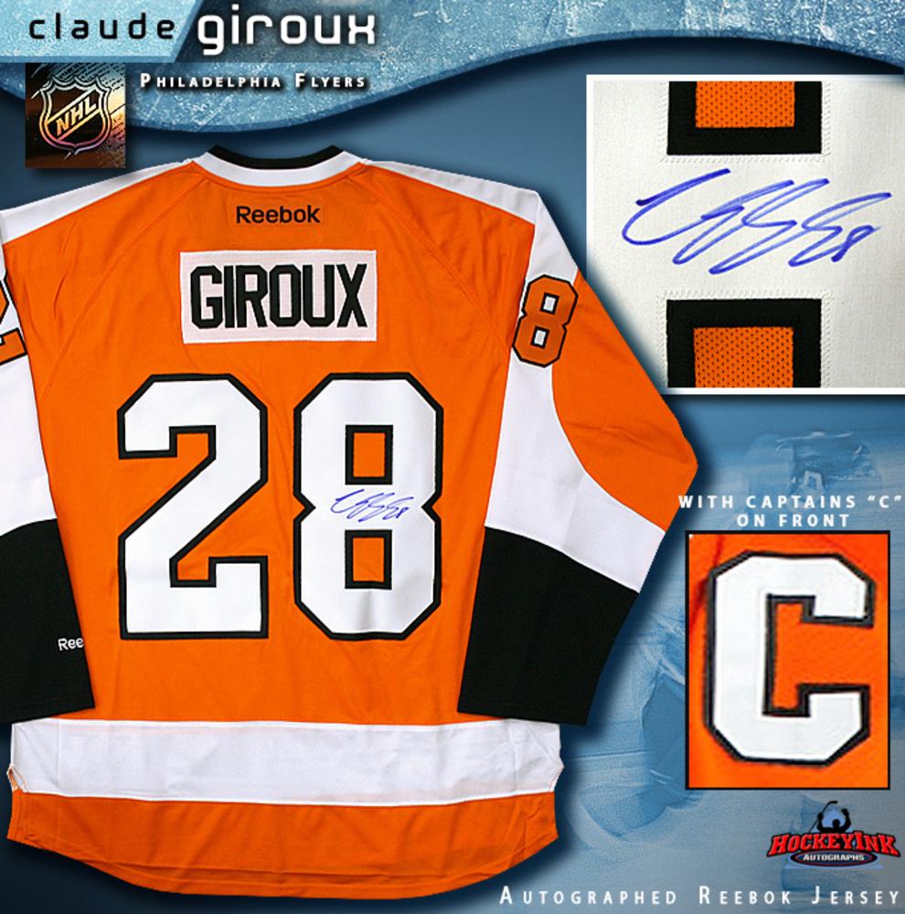 CLAUDE GIROUX Signed Reebok Premier Orange Philadelphia Flyers Jersey with Captain's C
