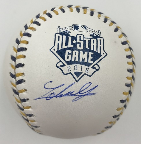 Photo of Johnny Cueto Autographed 2016 All-Star Game Logo Baseball