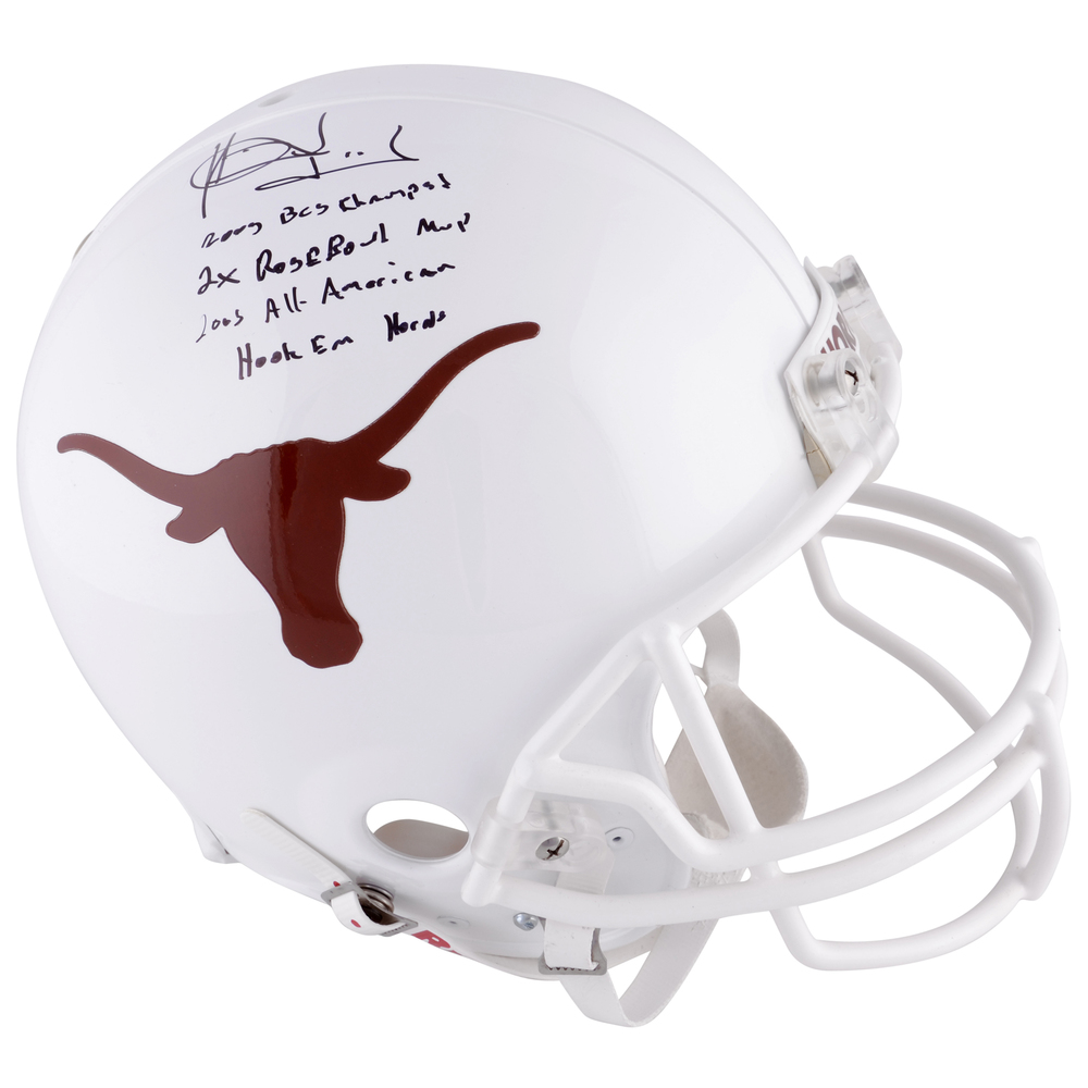 Vince Young Texas Longhorns Autographed Riddell Pro-Line Authentic Helmet with Multiple Inscriptions-#2-9 of a Limited Edition of 10