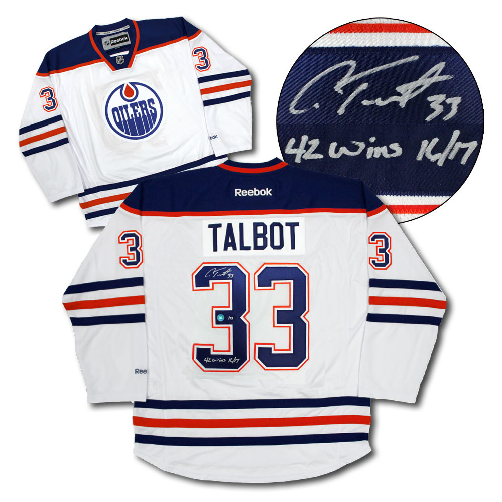 Cam Talbot Edmonton Oilers Signed & Noted 2017 Wins Record Hockey Jersey LE #/33