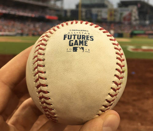 Photo of 2018 MLB Futures Game - Game-Used Baseball: Pitcher: Touki Toussaint, Batter: Taylor Trammell - Triple, Bottom 8th.