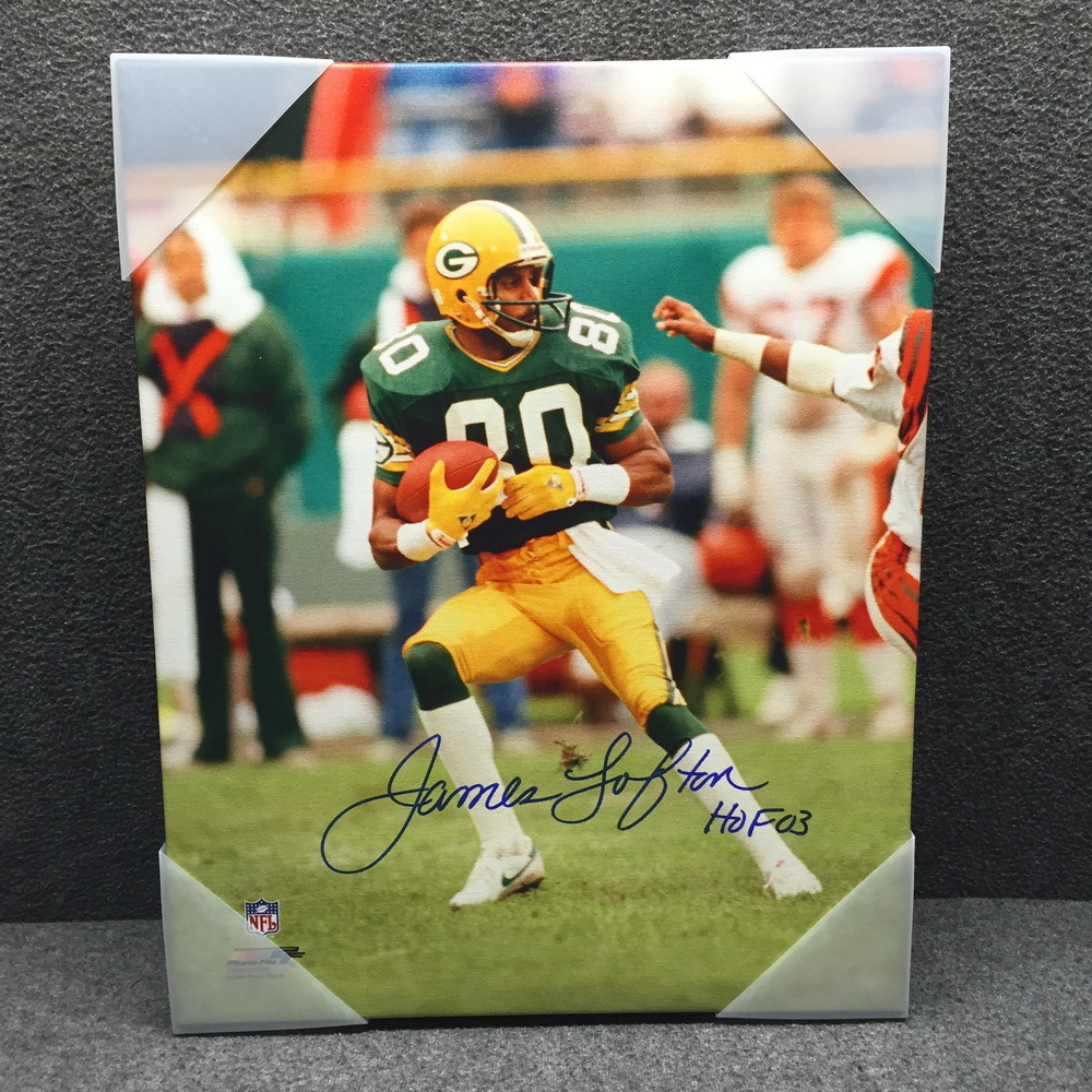 sports shoes 3b77f acd83 NFL Auction | HOF - Packers James Lofton signed 16x20 canvas ...