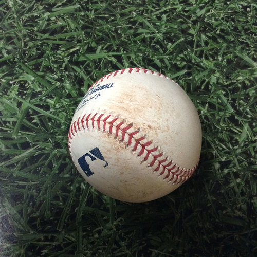 Photo of Game-Used Baseball MIL@PHI 05/14/19 - Edgar Garcia - Keston Hiura: Single (MLB Debut Game - 2nd Career Hit)
