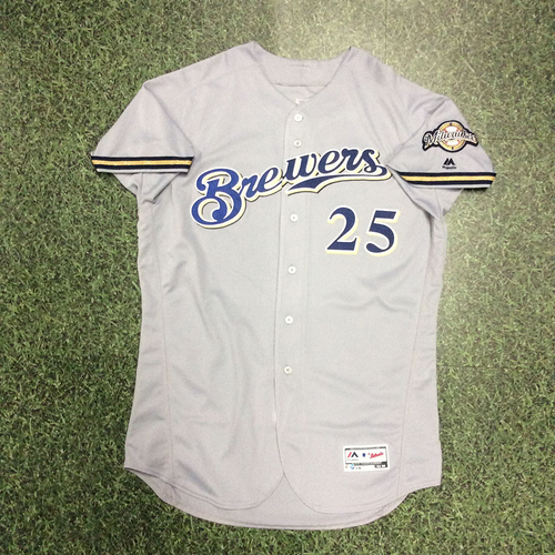 Photo of Ji-Man Choi 2018 Game-Used Opening Day Jersey (PH Double in 12th Inning; Scored Go-Ahead Run)