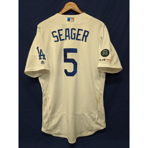 Photo of Los Angeles Dodgers Corey Seager Game-Used Home Jersey - 9/2/19 - 13th Home Run of 2019