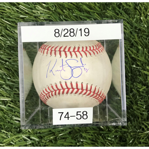 Photo of Win #74: 8/28/2019 Game-Used Baseball - Autographed by Kurt Suzuki