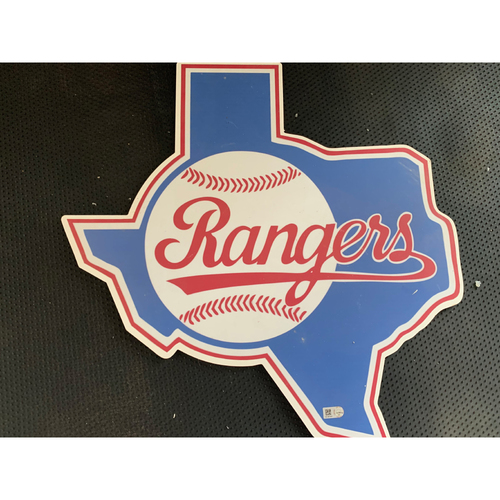 Photo of Texas Rangers Vintage 1984 Logo Sign Displayed in Tunnel Leading From Home Clubhouse to Home Dugout at Globe Life Park