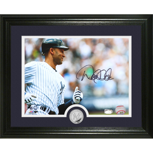 "Photo of Derek Jeter Autographed ""The Captain"" Silver Coin Photo Mint"