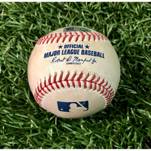 Photo of Game Used Baseball: Austin Meadows double off Michael King - First Seven Inning DH at Tropicana Field - Game 2 - August 8, 2020 v NYY